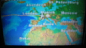 Map on the little screen on the plane